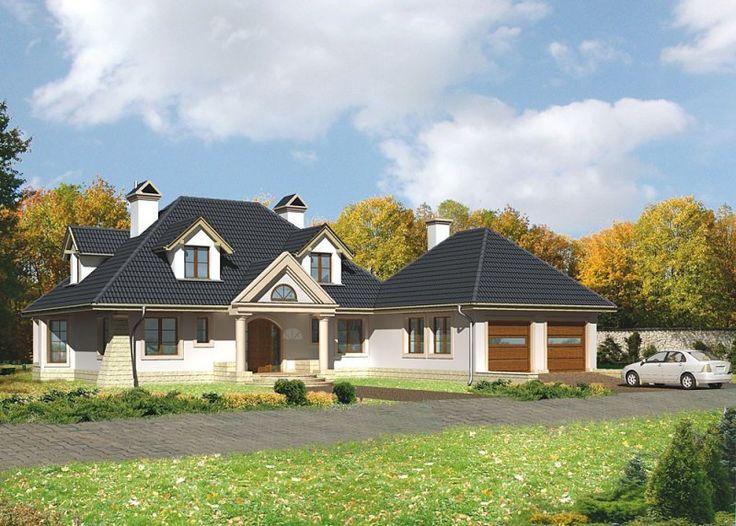 Dom jednorodzinny, parterowy, z  poddaszem użytkowym oraz dwustanowiskowym garażem.