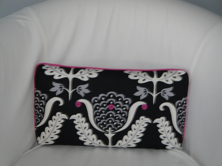 Custom made pillow for a teen girl's room.    www.embellishedinteriors.ca