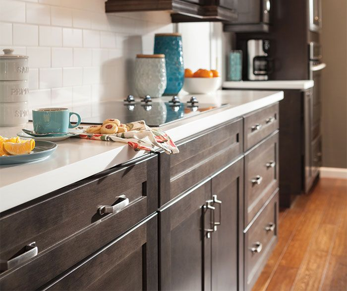 Staging Kitchen Counters: Dark Gray Kitchen Cabinets By Aristokraft Cabinetry. This