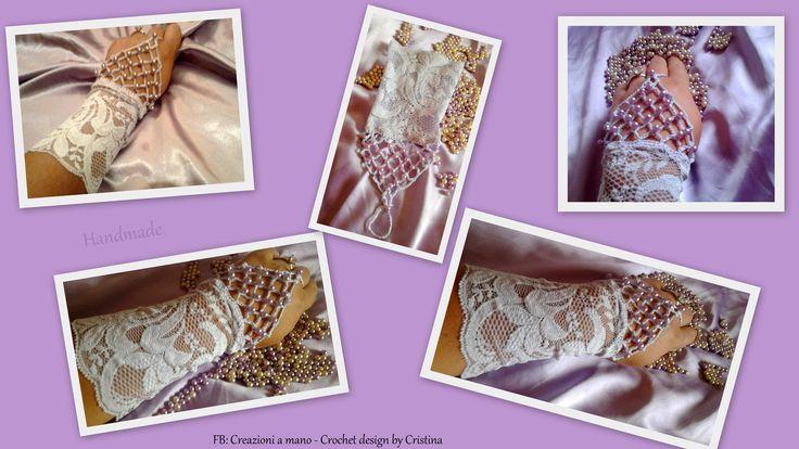 "guanto crochet ""damigella d'onore"" color lavanda"