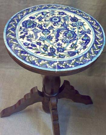 Antique Iznik Tile Top Table #antique #table #iznik #tile #interiordesign #design #handmade