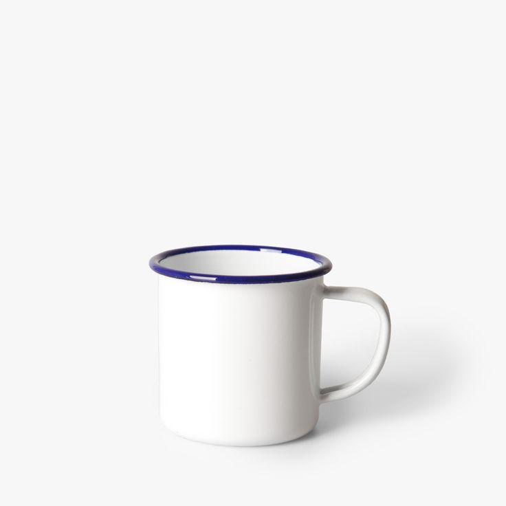 Coffee mug Falcon Enamelware • available on HNST.LY #coffee #mug #white #enamel #blue #bluerim #traditional #hnstly #whitedish #timeless #pragueshopping #designinprague #design #praguedesign #designstore #hnstlystore