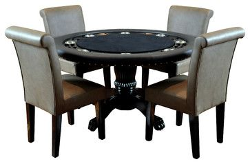 BBO Poker The Nighthawk Round Poker Table Set w/ 4 Lounge Chairs - Upholstered w traditional-game-tables