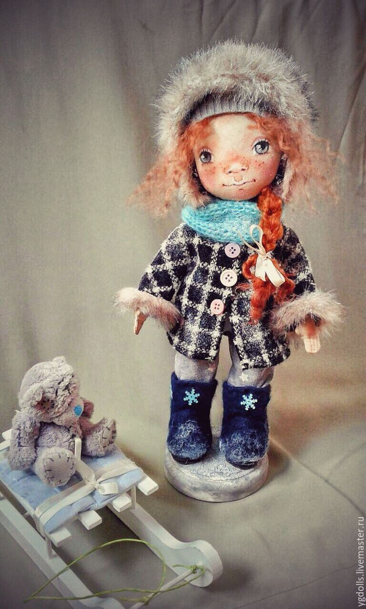 Купить Текстильная куколка(зима) - рыжий, рыжая девочка, веснушки, интерьерная кукла, авторская кукла