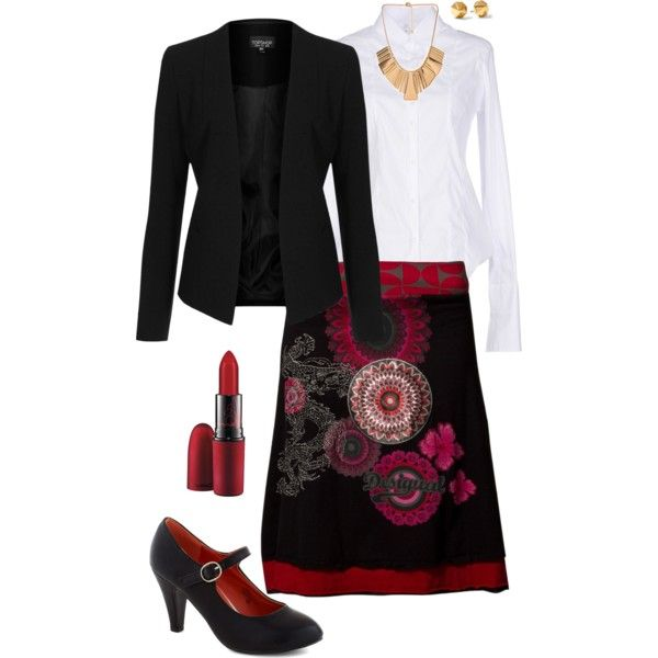 """Elegant outfit centered around black & red Desigual skirt"". Except the skirt I have is different and looks a lot better in this combination. Sadly I can't find a picture anywhere..."