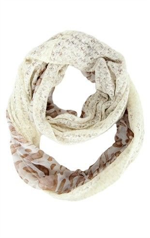 Deb Shops Infinity Scarf with Leopard Print and Lurex Sweater Knit Trim $11.13
