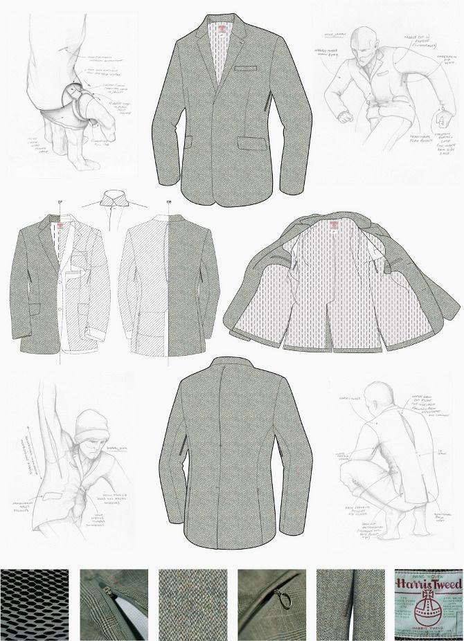 technical drawing suit. trazo plano de saco. Nike - www.tonyspackman.com