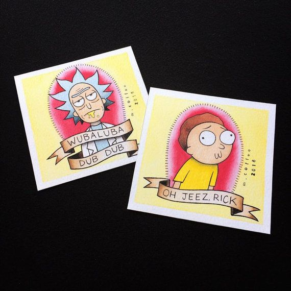 Hey, I found this really awesome Etsy listing at https://www.etsy.com/listing/244288941/rick-and-morty-tattoo-flash-mini-prints