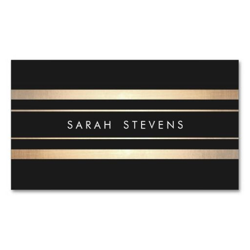 Stylish Black and Faux Foil Gold Striped Modern Business Card Templates. Make your own business card with this great design. All you need is to add your info to this template. Click the image to try it out!