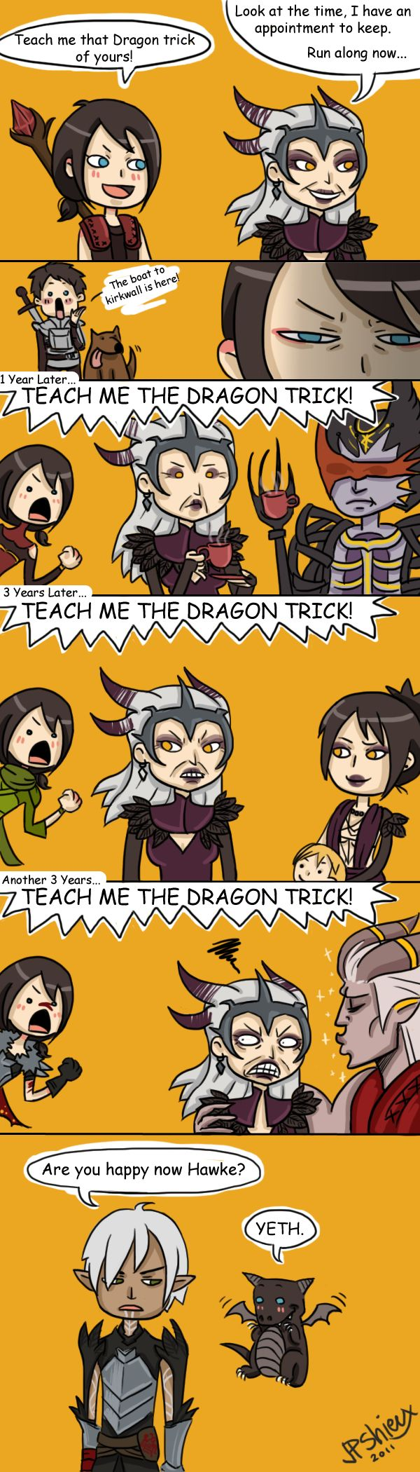 Dragon Trick!!!! I love the look on Fenris's face. Like Hawke has been ignoring his talks to giggle about the dragon trick for 10 years