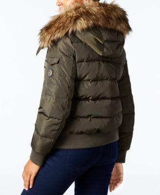 Michael Michael Kors Faux-Fur-Trim Down Puffer Coat - Green XXL