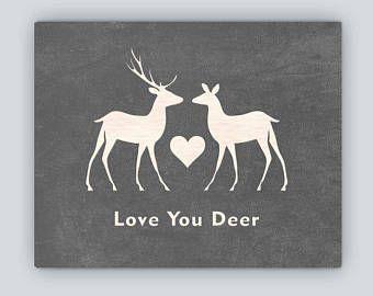 Téléchargement numérique. Home Decor art de mur. Love You cerf. Silhouette baiser couple de cerf. Vintage moderne rustique élégant.