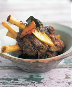 Braised Moroccan-style baby lamb shanks. Photo by Ian Wallace