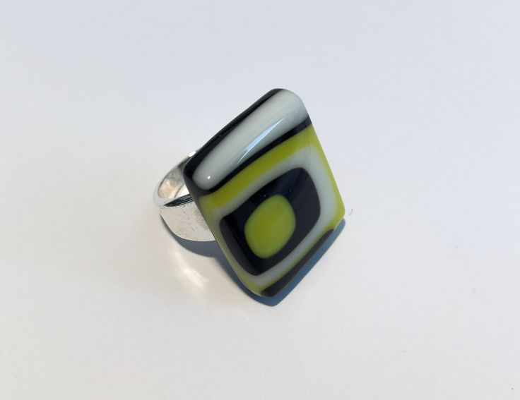 Black & yellow statement ring, bold geometric pattern, Pittsburgh Steeler inspired fused glass ring non-adjustable size 8-9, SpallekGlassArt by SpalleksGlassArt on Etsy https://www.etsy.com/au/listing/491912093/black-yellow-statement-ring-bold