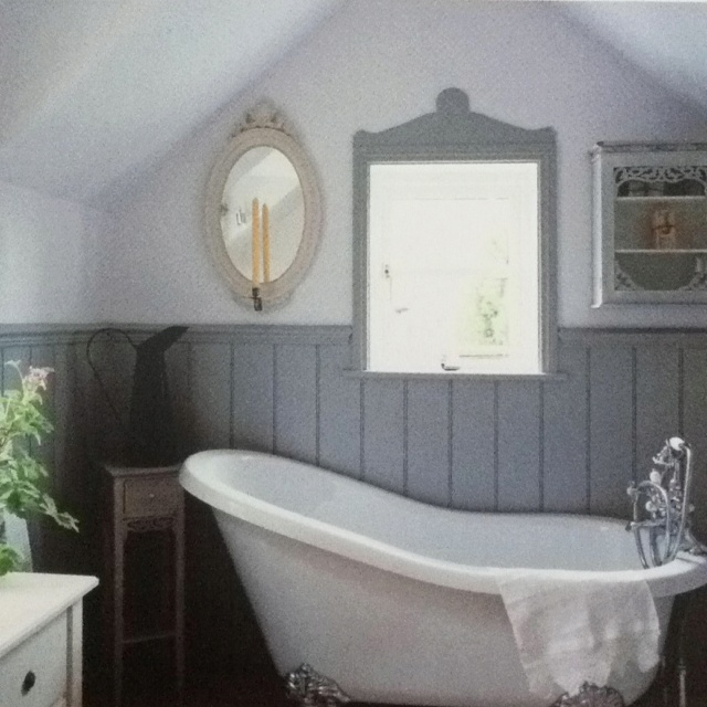 Grey wainscoting the vintage modern home home diy for Modern classic bathroom designs