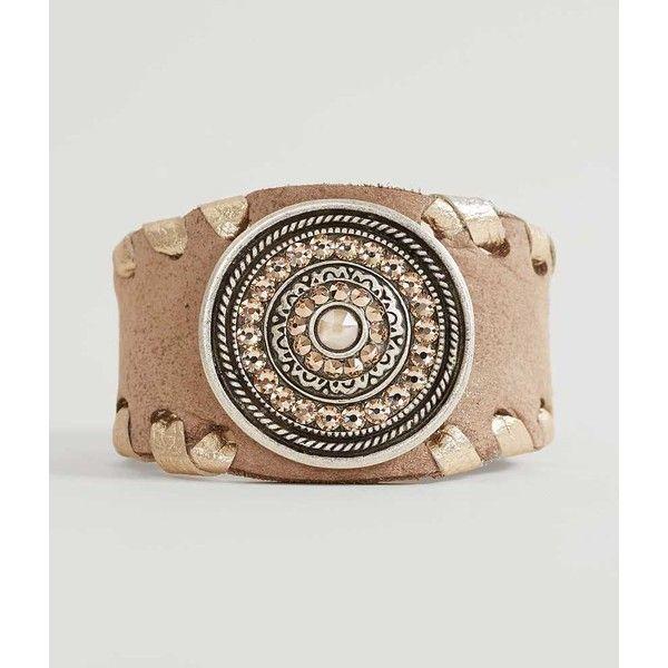 Leatherock Pendant Bracelet - Brown ($40) ❤ liked on Polyvore featuring jewelry, bracelets, brown, pendant jewelry, leather bangles, enhancer pendant, brown jewelry and leatherock