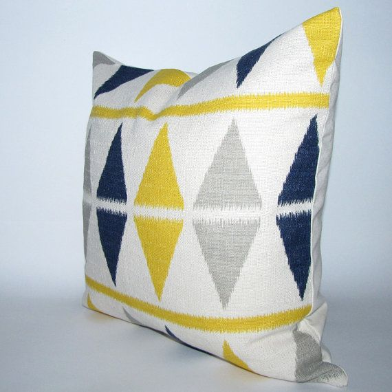 Reserved Listing Blue And Yellow Pillow Cover Ikat