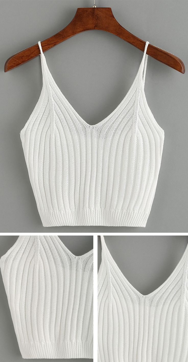 Ribbed Knit Crop Cami Top - White                                                                                                                                                                                 More