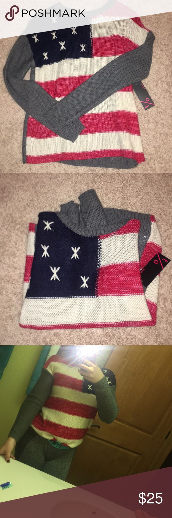 🆕AMERICAN FLAG SWEATER FROM TAKEOUT NEW WITH TAGS AMERICAN FLAG SWEATER🤙🇺🇸 Show your American pride in fall, winter, and spring with this stylish American flag print sweater.   Size XS, never worn:)  BUNDLE AND SAVE 5% Takeout Sweaters Crew & Scoop Necks
