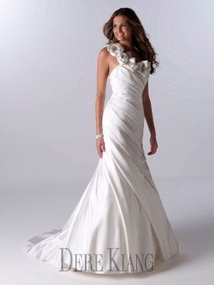 One shoulder simple wedding gown - 11118
