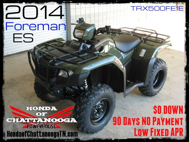 2014 Foreman 500 TRX500FE1E SALE Price at Honda of Chattanooga is too Low to advertise. Visit www.HondaofChattanoogaTN.com or Call / Email Kevin for the lowest & best 2014 Foreman 500 4x4 ATV Sale Price. Our 2014 Foreman ES 500 ATVs are in stock and we have special financing promotions with $0 DOWN and 90 Days NO Payment on our 2014 Honda ATVs. We have all of the 2014 Foreman 500 Models in stock TRX500FM1E / TRX500FM2E / TRX500FE1E / TRX500FE2E