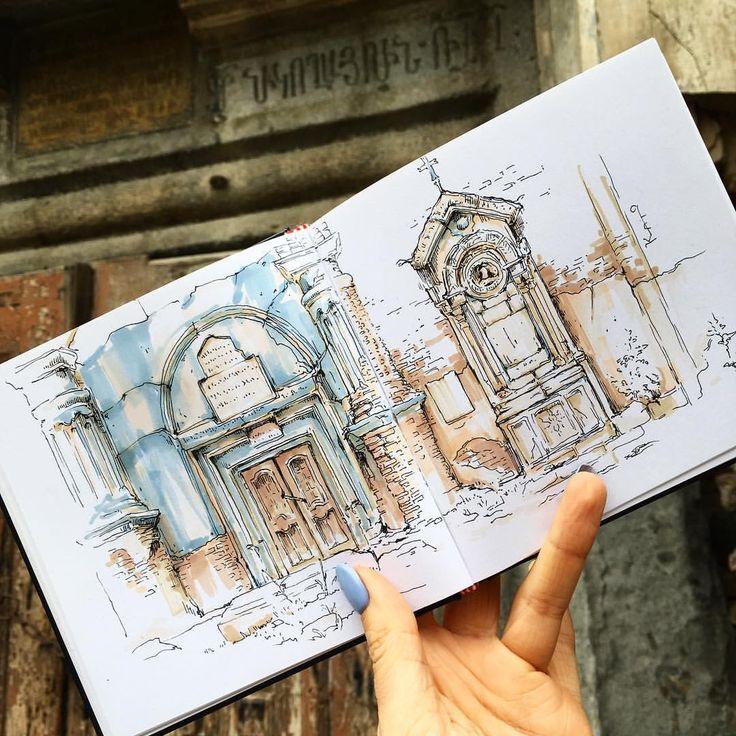 "2,247 Likes, 21 Comments - Ekaterina (Kato) Ivannikova (@kato.ivannikova) on Instagram: ""Вчера набрела на заброшенную армянскую церковь. В медитативном темпе сидела и рисовала ее.…"""