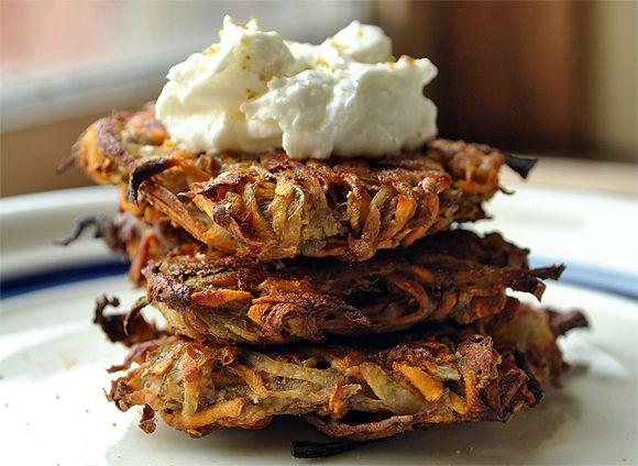 Baked Cumin Sweet Potato Latkes