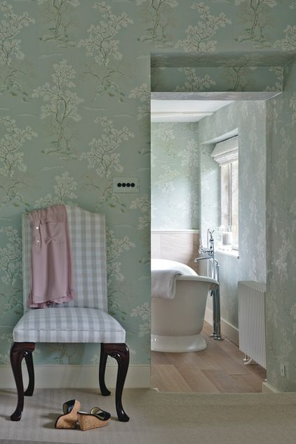 Farmhouse Bathroom by Sims Hilditch | Wallpaper - Oriental Tree in Pale Aqua, GP & J Baker