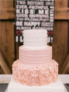 romantic wedding cake with pink roses and heart shaped wedding cake topper