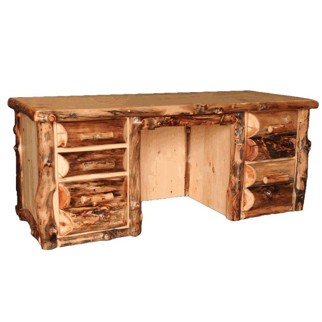 Our Rustic Aspen Log Executive Desk Is Perfect For Your Cabin Lodge Or Country Cottage Office Den E Visit Us Online Call More