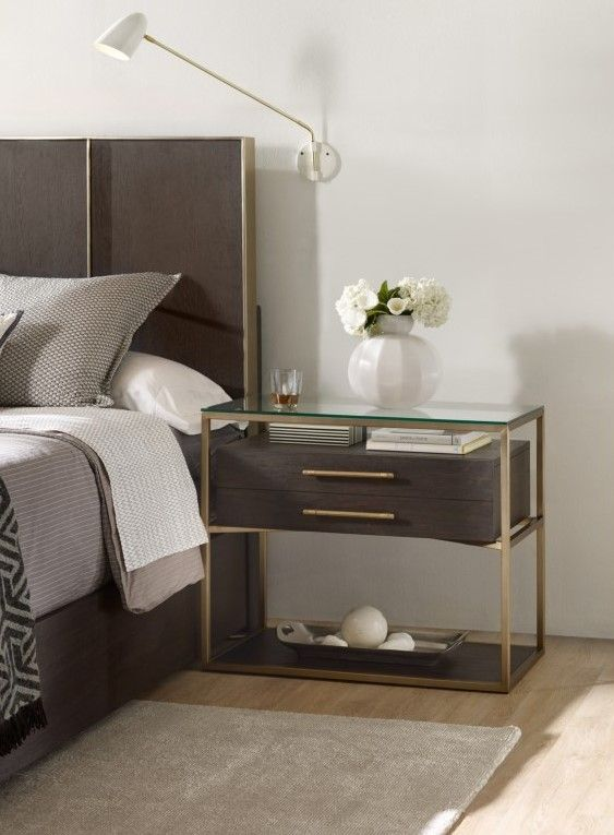 This Chic Wooden Nightstand With A Brass Frame Will Look Great In Any Contemporary Bedroom