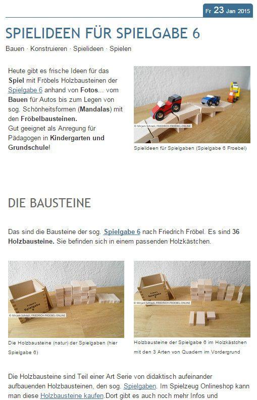 SPIELIDEEN FÜR SPIELGABE 6.  Darum geht es in diesem Blogbeitrag.  Unter anderem gibt es hier Fotos von Brücken, Türmen, Parkplätzen  usw. Alles Dinge, die man mit den Bauklötzen der Spielgabe 6 als Kind bauen kann!   Hier kannst du diese Bauklötze kaufen: http://www.friedrich-froebel-online.de/shop/