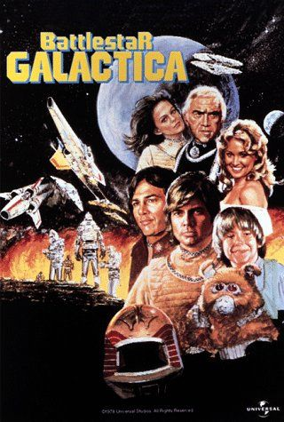 Created by Glen A. Larson.  With Lorne Greene, Richard Hatch, Dirk Benedict, Herbert Jefferson Jr.. The last major Colonial fighter carrier leads a makeshift fleet of human refugees on a desperate search for the legendary planet Earth.
