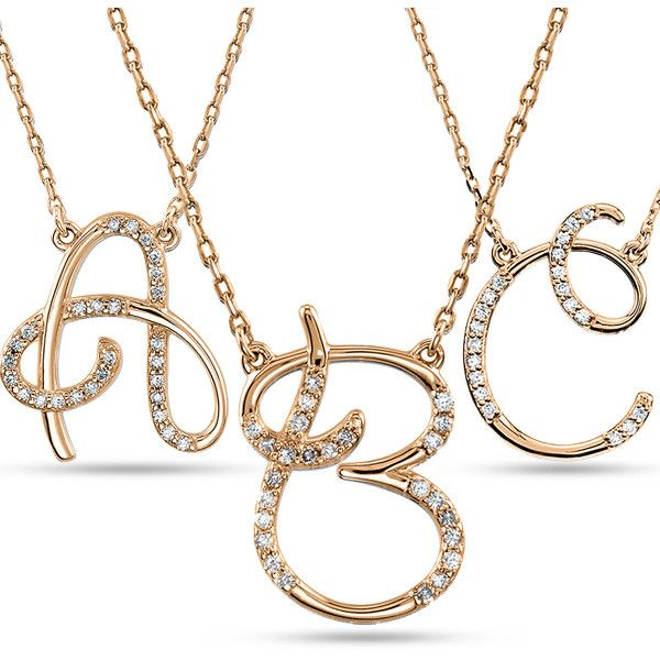 Allurez Personalized Diamond Cursive Initial Pendant Necklace 14k Rose... ($565) ❤ liked on Polyvore featuring jewelry, necklaces, pendants & necklaces, initial pendant necklace, letter pendant necklace, diamond pendant necklace and diamond initial necklace