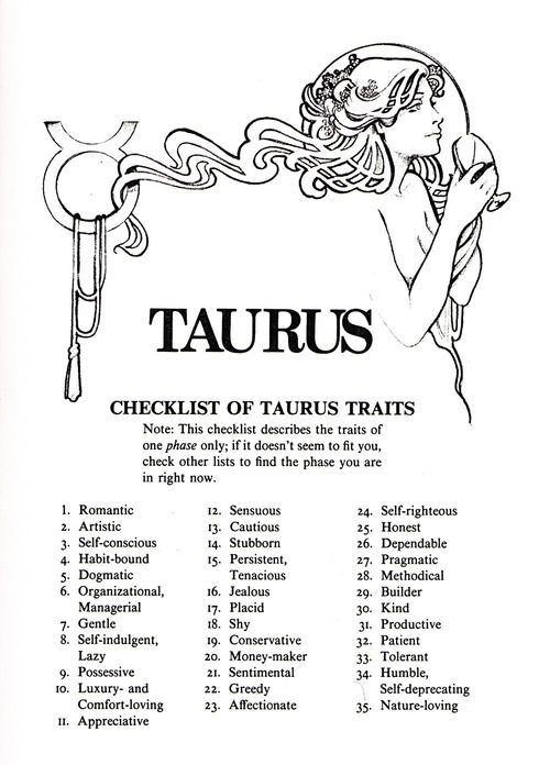 checklist of taurus traits