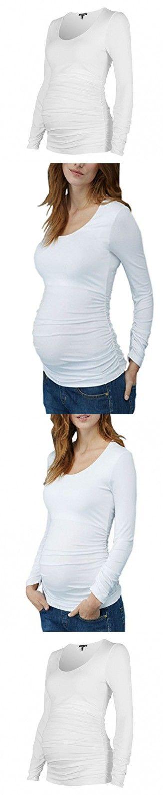 Jinson Women's Motherhood Maternity Tops Clothes Nursing Side Ruched Long Sleeve Crew Neck Tunic Shirt White L