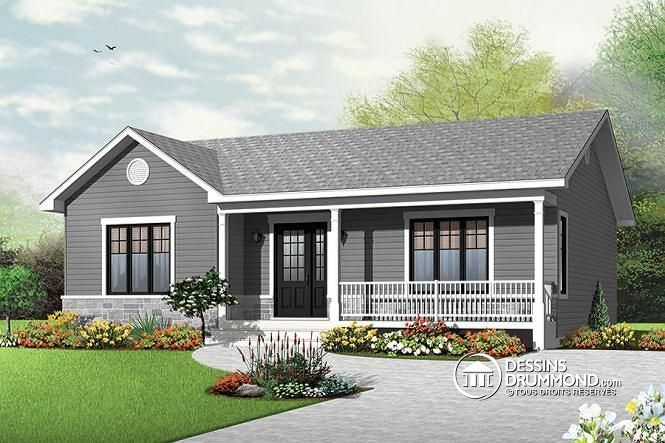 Plain-pied bungalow, économique, espace famille ouvert http://www.dessinsdrummond.com/detail-plan-de-maison/info/1003132.html