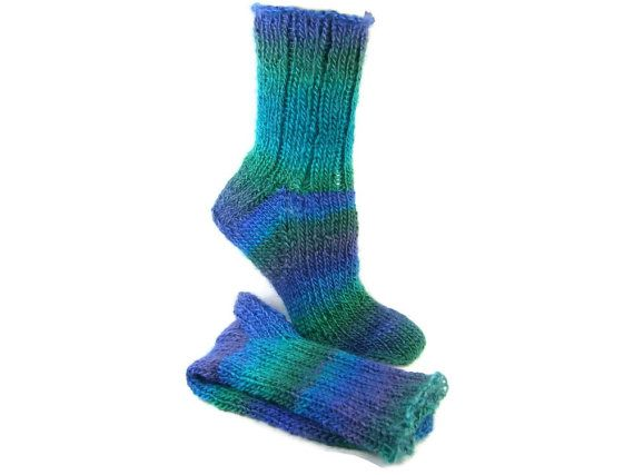 Knitted Socks Hand Knit Socks Striped Adult by SlicKnitsSocks