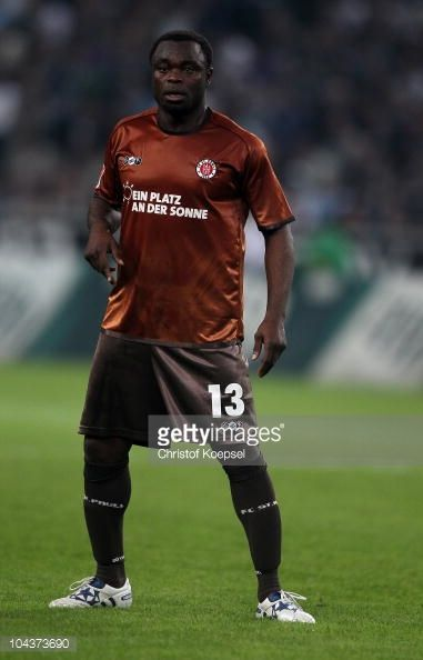 Gerald Asamoah of Pauli looks on during the Bundesliga match between Borussia Moenchengladbach and FC St Pauli at Borussia Park on September 22 2010...