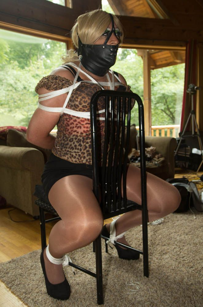 Fetish crossdressed sissy hogtied mistress