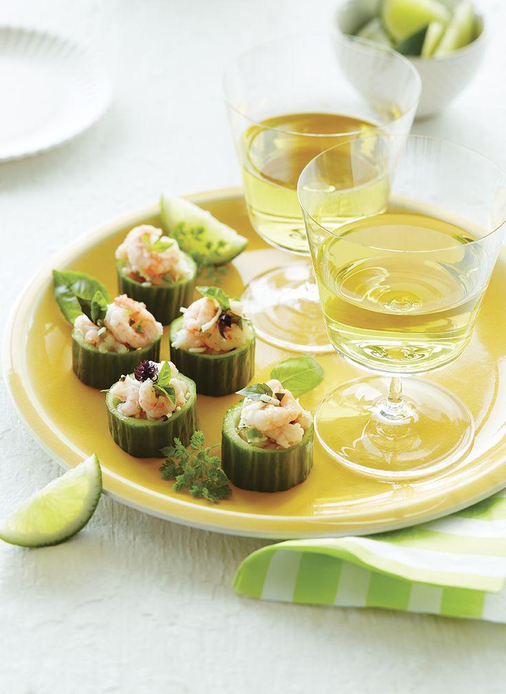Canapés de crevettes sur concombre #recette #TchinTchin