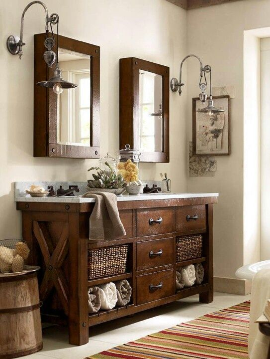 Pics On Benchwright Double Sink Console Rustic Mahogany Finish Pottery barn style Bathroom vanities and Vanities
