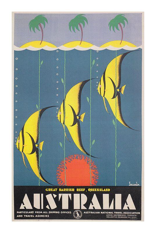 Australia Travel Poster Vintage Art Deco Poster by ArtDecoGallery