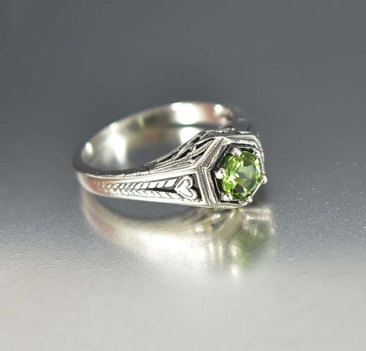Sterling Silver Heart Peridot Engagement Ring Art Deco Style  #Style #Ring #Sterling #ngagement #Peridot #Silver #Engagement #Deco #Art #Heart