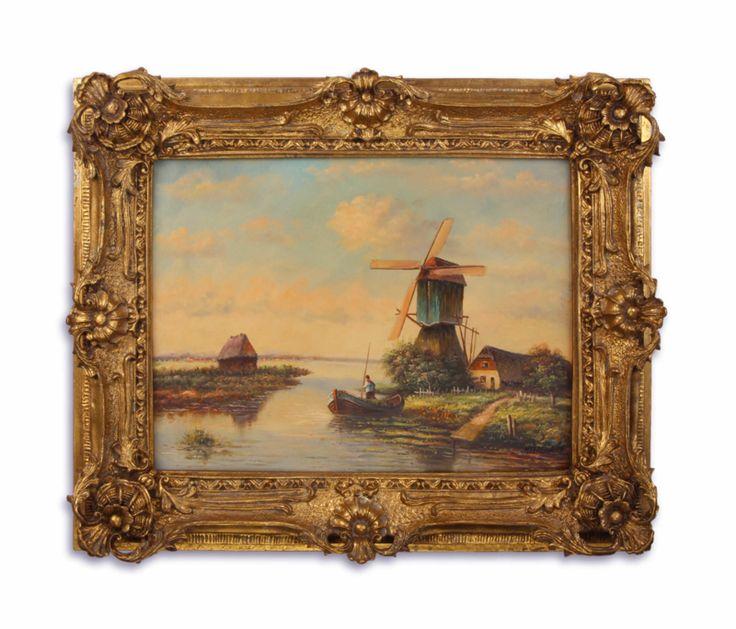 Olieverf schilderij van een molen.  https://www.antiekenbrocantereplica.nl