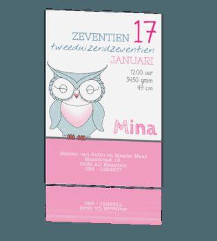 Lief en romantisch babykaartje met uil en mooie typografie