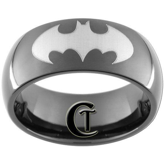 9mm Black Dome Tungsten Carbide Batman Ring Sizes 5-15 - FREE Shipping