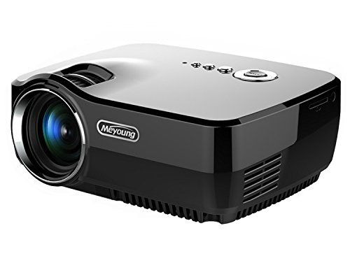 "Meyoung Home Projector HD Video Projector 1080P 1200 Lumens 150"" for Movie Night, DVD Player, via HDMI/USB/AV/SD/VGA Ports (GP70 Black)"