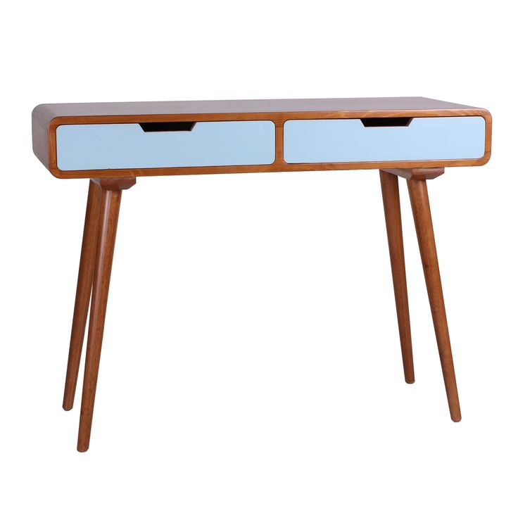 Sleek Mid-century style meets functionality in the Ruby 2-Drawer Console by Porthos Home. The long, angled legs and two sliding drawers create a vintage mood anywhere in your home.