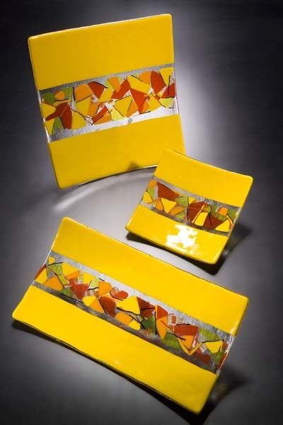 Yellow red orange lemon and tangerine art glass by jensstudio. Color blocks